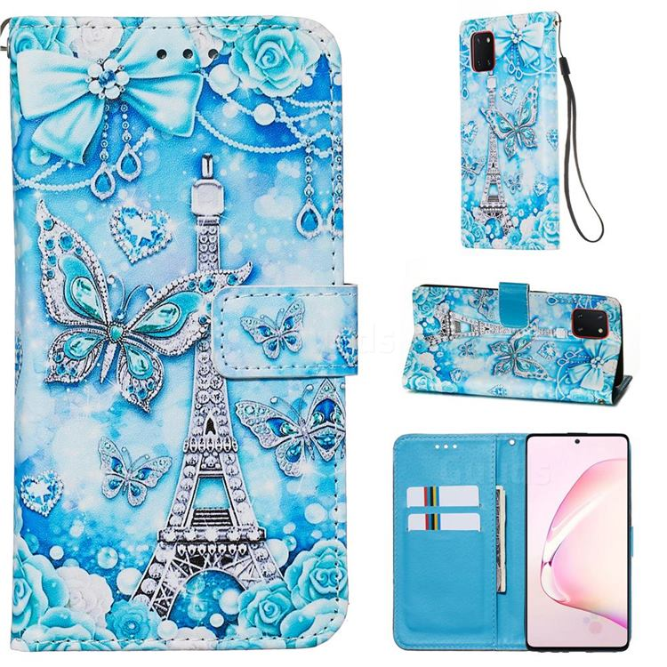 Tower Butterfly Matte Leather Wallet Phone Case for Samsung Galaxy A81