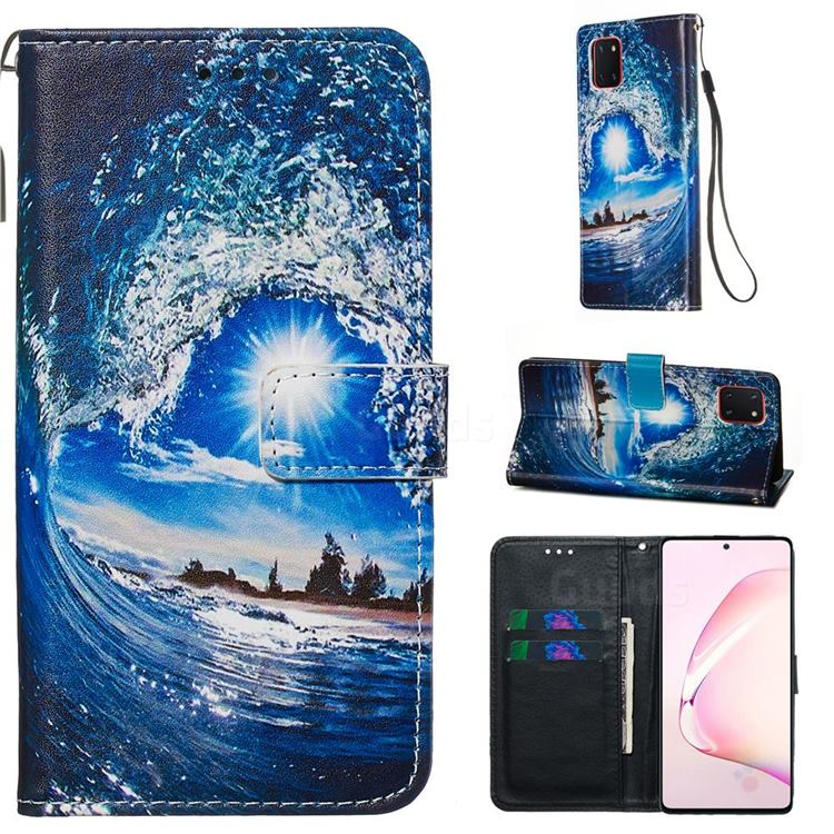 Waves and Sun Matte Leather Wallet Phone Case for Samsung Galaxy A81