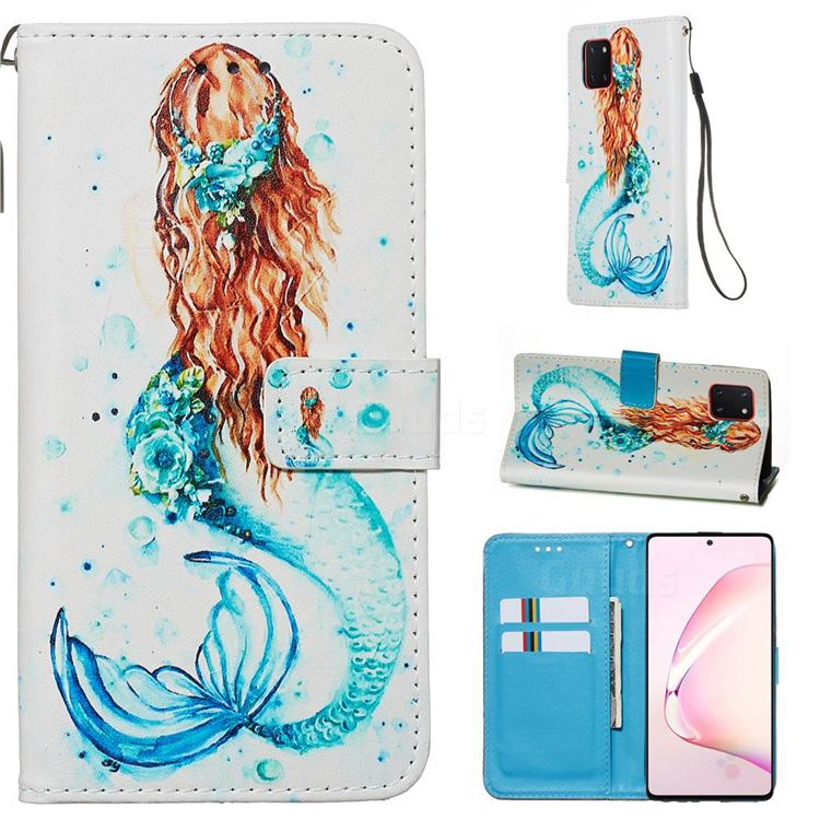 Mermaid Matte Leather Wallet Phone Case for Samsung Galaxy A81