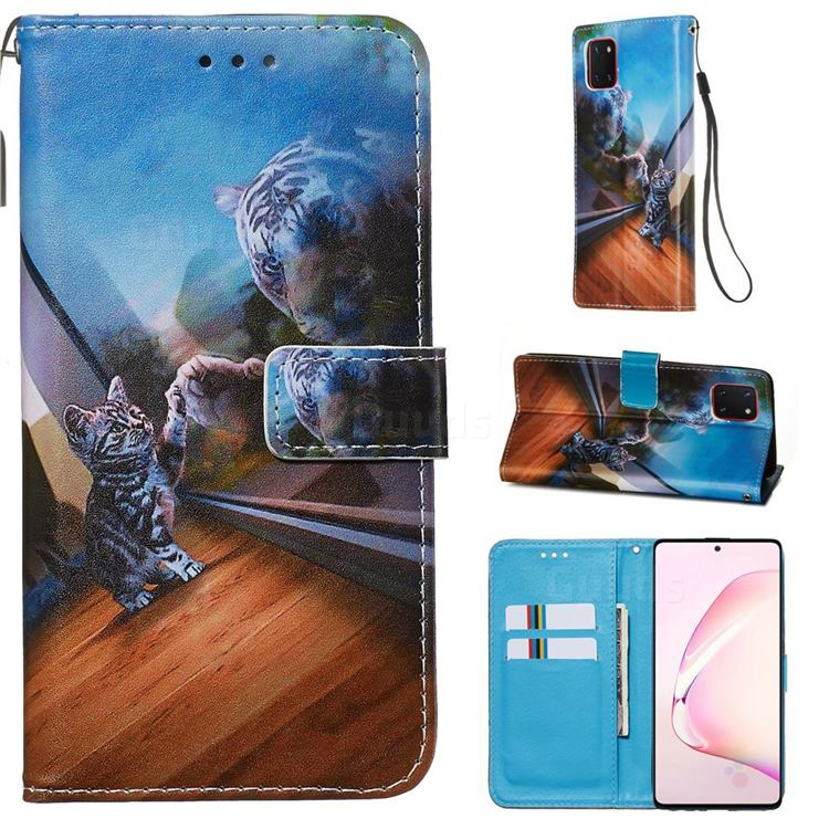Mirror Cat Matte Leather Wallet Phone Case for Samsung Galaxy A81