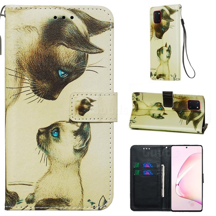 Cat Confrontation Matte Leather Wallet Phone Case for Samsung Galaxy A81