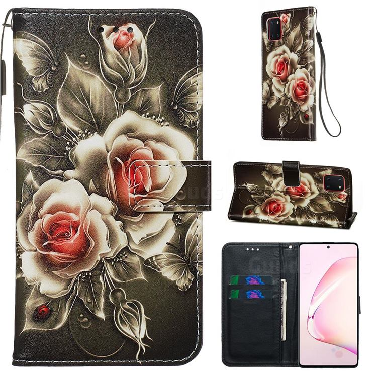 Black Rose Matte Leather Wallet Phone Case for Samsung Galaxy A81