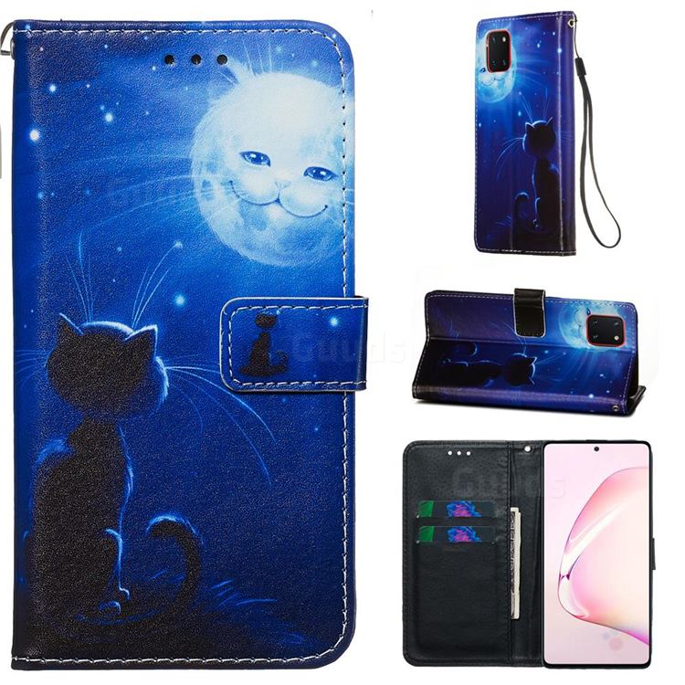 Cat and Moon Matte Leather Wallet Phone Case for Samsung Galaxy A81