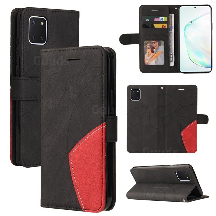 Luxury Two-color Stitching Leather Wallet Case Cover for Samsung Galaxy A81 - Black