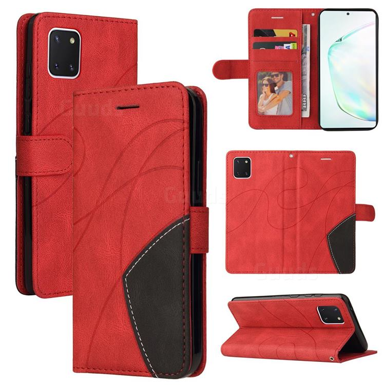 Luxury Two-color Stitching Leather Wallet Case Cover for Samsung Galaxy A81 - Red