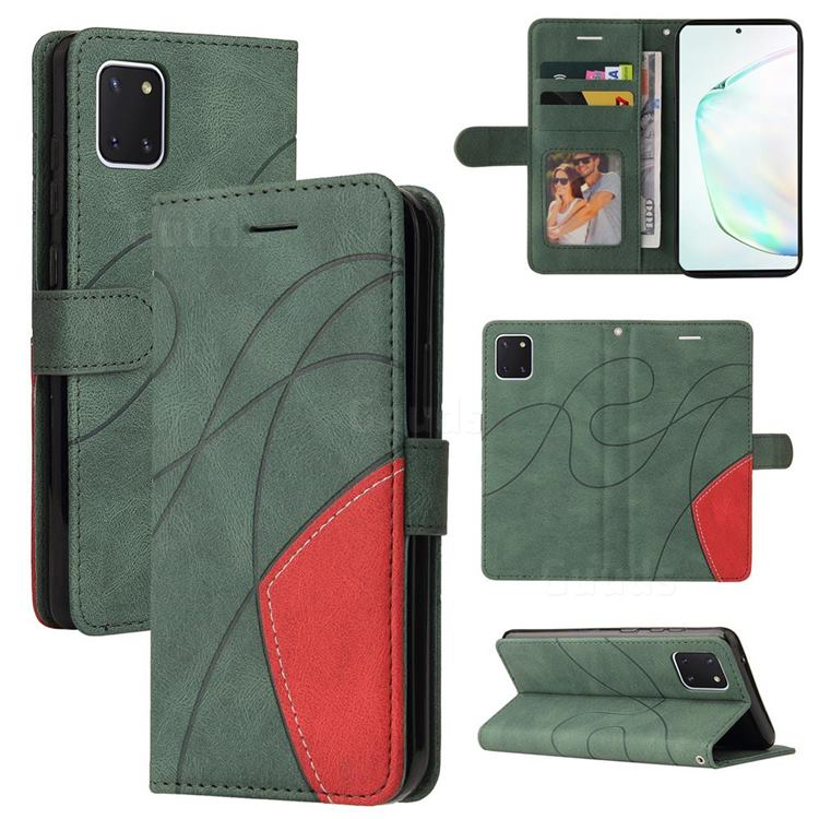 Luxury Two-color Stitching Leather Wallet Case Cover for Samsung Galaxy A81 - Green