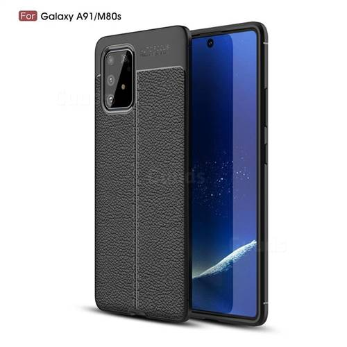 Luxury Auto Focus Litchi Texture Silicone TPU Back Cover for Samsung Galaxy A91 - Black