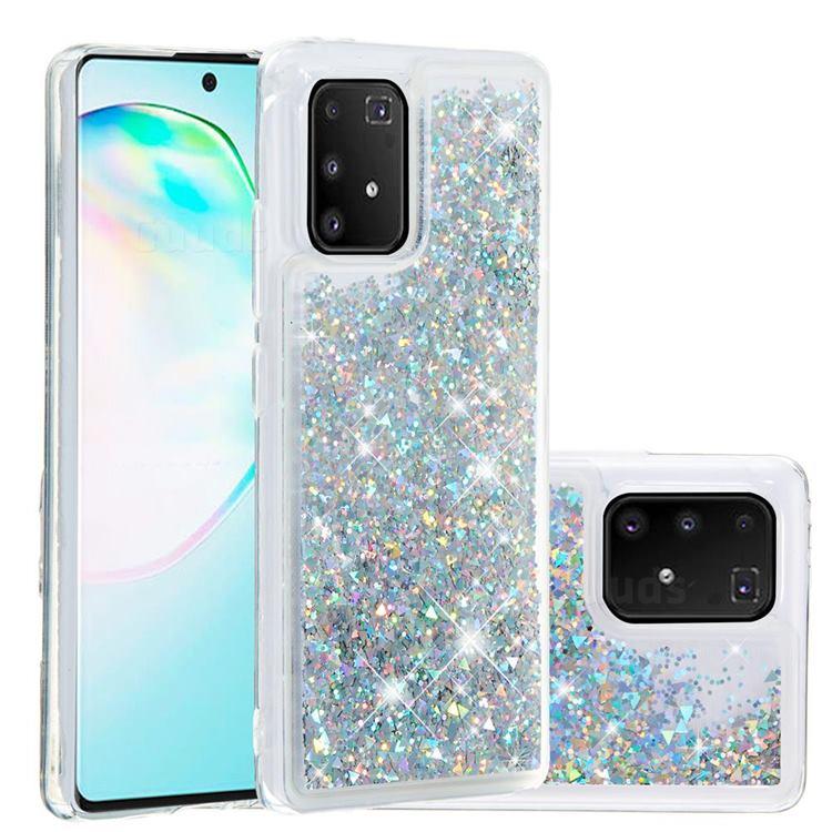 Dynamic Liquid Glitter Quicksand Sequins TPU Phone Case for Samsung Galaxy A91 - Silver