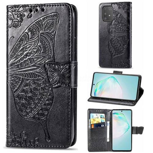 Embossing Mandala Flower Butterfly Leather Wallet Case for Samsung Galaxy A91 - Black