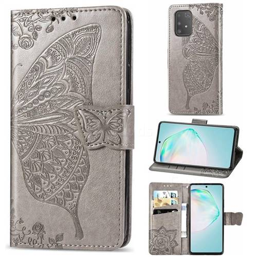 Embossing Mandala Flower Butterfly Leather Wallet Case for Samsung Galaxy A91 - Gray