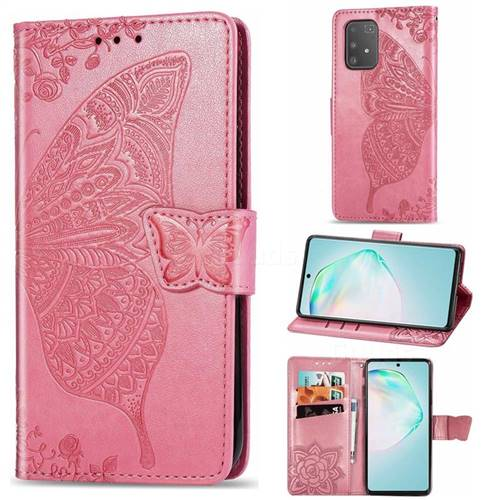 Embossing Mandala Flower Butterfly Leather Wallet Case for Samsung Galaxy A91 - Pink