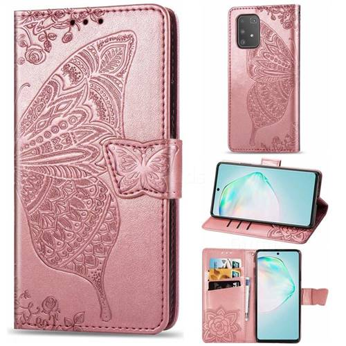 Embossing Mandala Flower Butterfly Leather Wallet Case for Samsung Galaxy A91 - Rose Gold