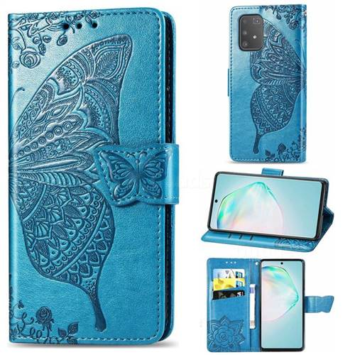 Embossing Mandala Flower Butterfly Leather Wallet Case for Samsung Galaxy A91 - Blue