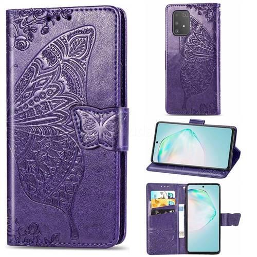 Embossing Mandala Flower Butterfly Leather Wallet Case for Samsung Galaxy A91 - Dark Purple