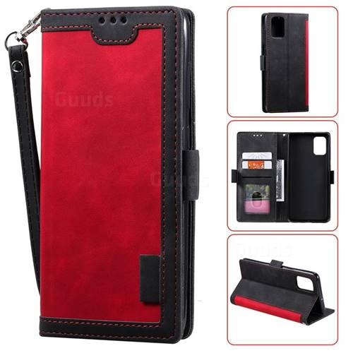 Luxury Retro Stitching Leather Wallet Phone Case for Samsung Galaxy A91 - Deep Red