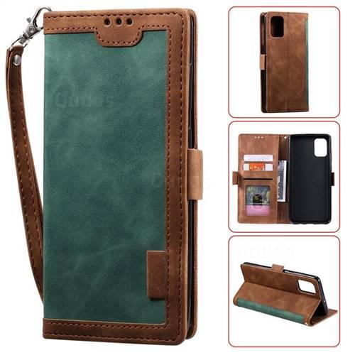 Luxury Retro Stitching Leather Wallet Phone Case for Samsung Galaxy A91 - Dark Green