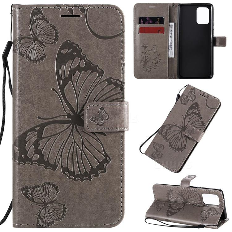 Embossing 3D Butterfly Leather Wallet Case for Samsung Galaxy A91 - Gray