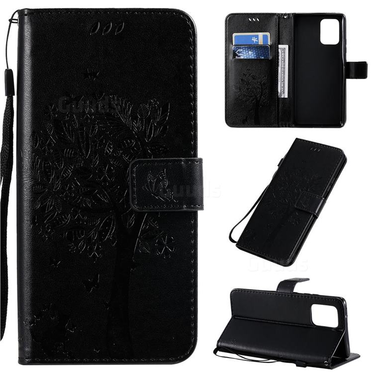Embossing Butterfly Tree Leather Wallet Case for Samsung Galaxy A91 - Black