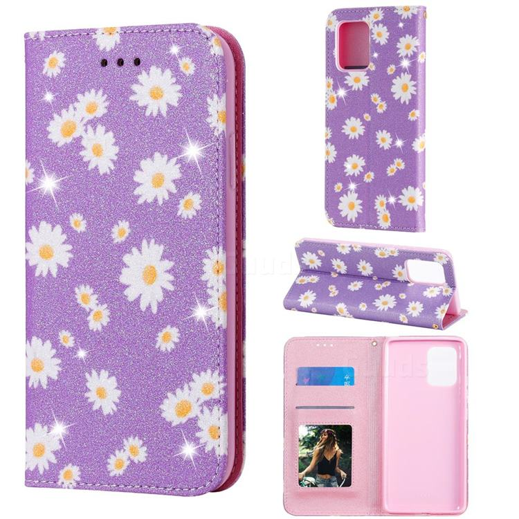Ultra Slim Daisy Sparkle Glitter Powder Magnetic Leather Wallet Case for Samsung Galaxy A91 - Purple
