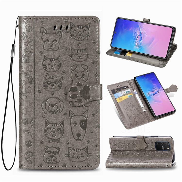 Embossing Dog Paw Kitten and Puppy Leather Wallet Case for Samsung Galaxy A91 - Gray