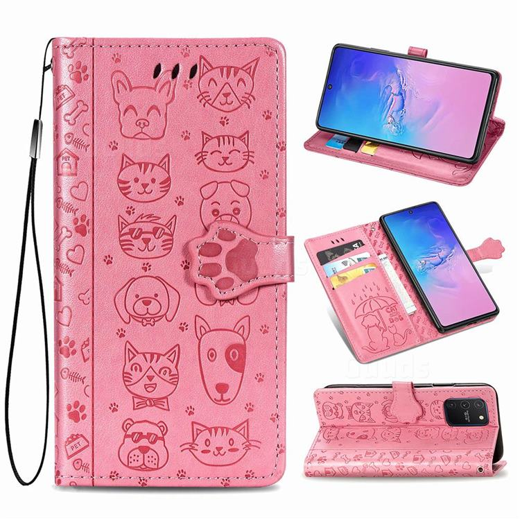 Embossing Dog Paw Kitten and Puppy Leather Wallet Case for Samsung Galaxy A91 - Pink