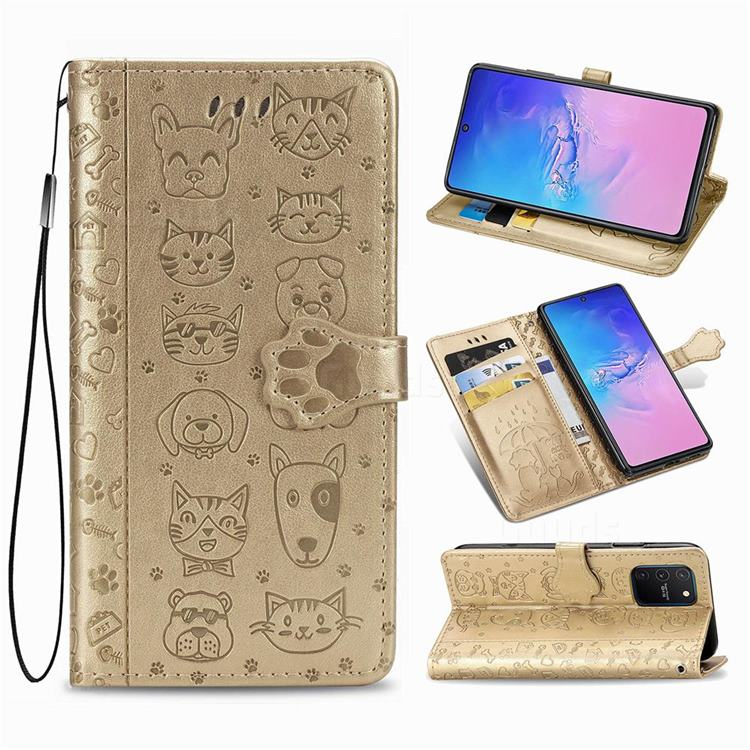 Embossing Dog Paw Kitten and Puppy Leather Wallet Case for Samsung Galaxy A91 - Champagne Gold
