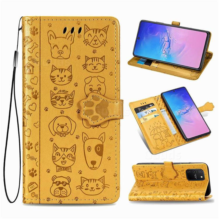 Embossing Dog Paw Kitten and Puppy Leather Wallet Case for Samsung Galaxy A91 - Yellow