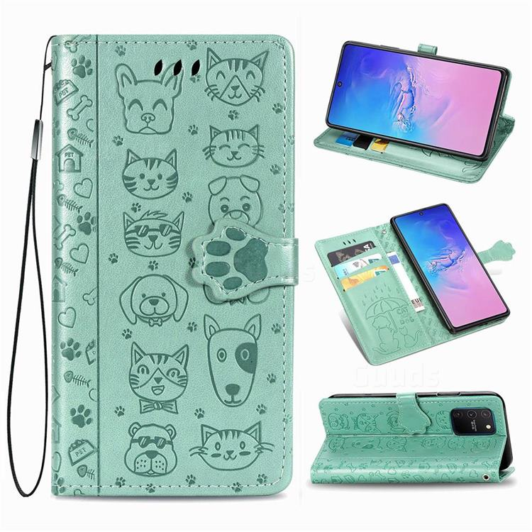 Embossing Dog Paw Kitten and Puppy Leather Wallet Case for Samsung Galaxy A91 - Green