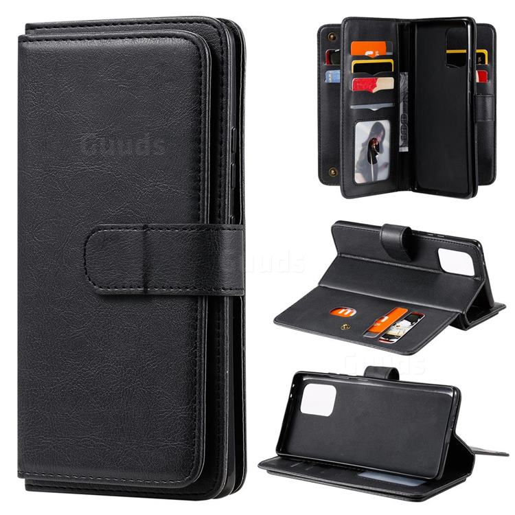 Multi-function Ten Card Slots and Photo Frame PU Leather Wallet Phone Case Cover for Samsung Galaxy A91 - Black