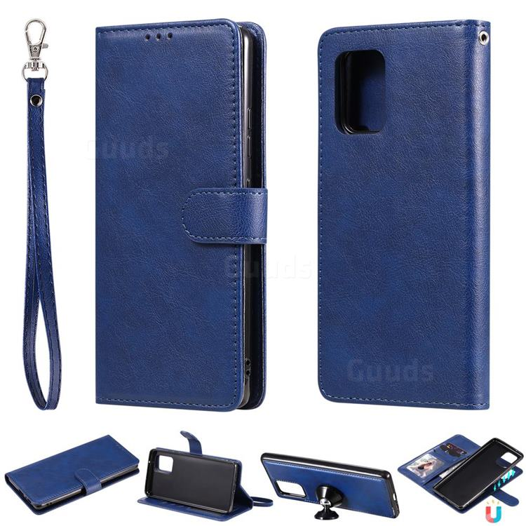 Retro Greek Detachable Magnetic PU Leather Wallet Phone Case for Samsung Galaxy A91 - Blue