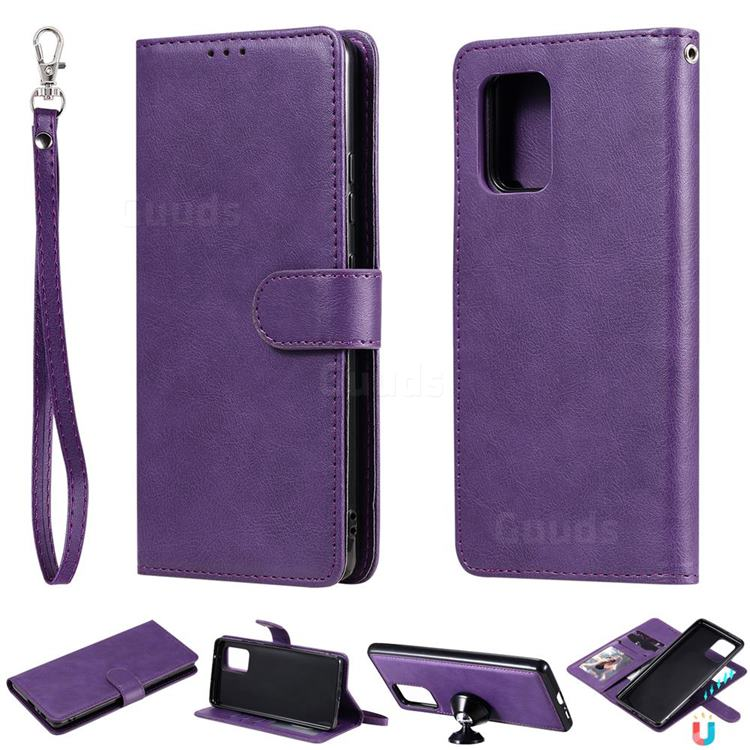 Retro Greek Detachable Magnetic PU Leather Wallet Phone Case for Samsung Galaxy A91 - Purple