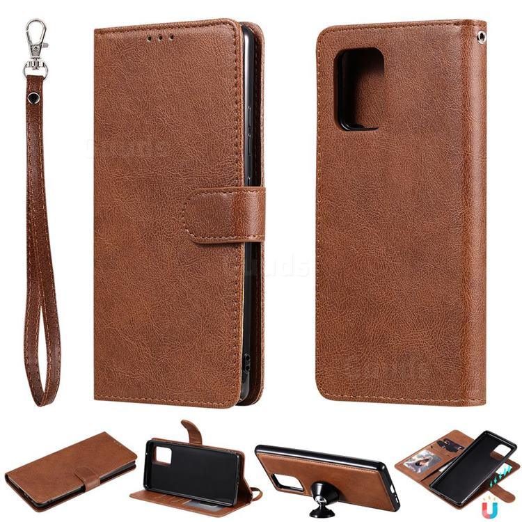 Retro Greek Detachable Magnetic PU Leather Wallet Phone Case for Samsung Galaxy A91 - Brown