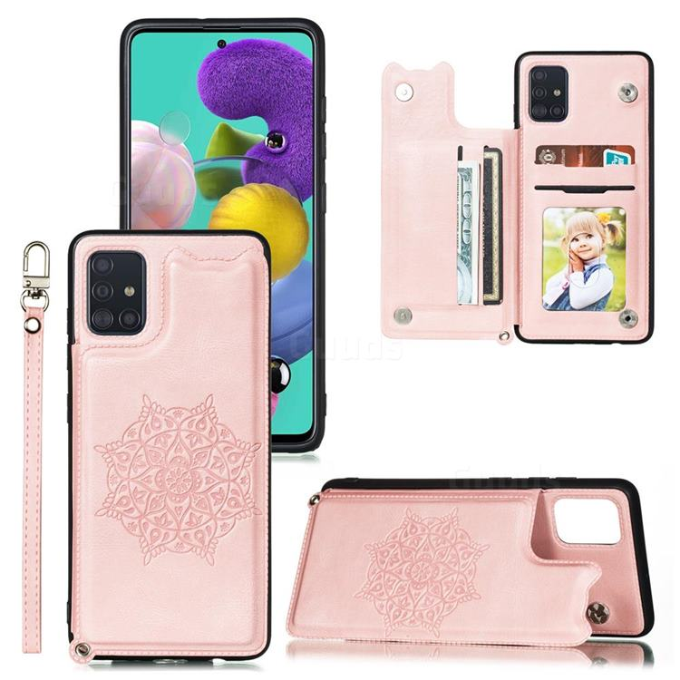 Luxury Mandala Multi-function Magnetic Card Slots Stand Leather Back Cover for Samsung Galaxy A91 - Rose Gold