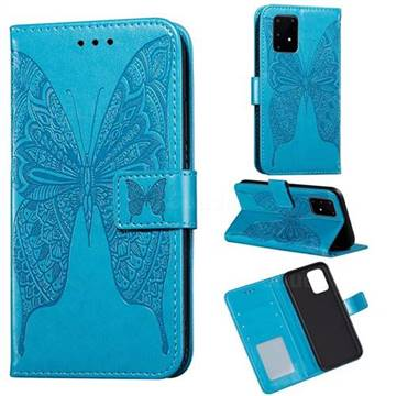 Intricate Embossing Vivid Butterfly Leather Wallet Case for Samsung Galaxy A91 - Blue