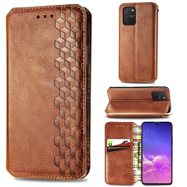 Ultra Slim Fashion Business Card Magnetic Automatic Suction Leather Flip Cover for Samsung Galaxy A91 - Brown