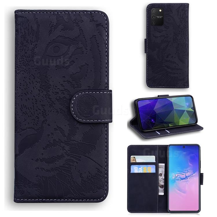 Intricate Embossing Tiger Face Leather Wallet Case for Samsung Galaxy A91 - Black