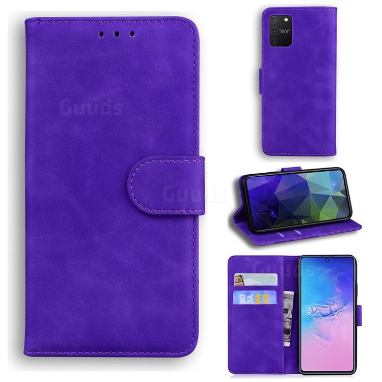 Retro Classic Skin Feel Leather Wallet Phone Case for Samsung Galaxy A91 - Purple