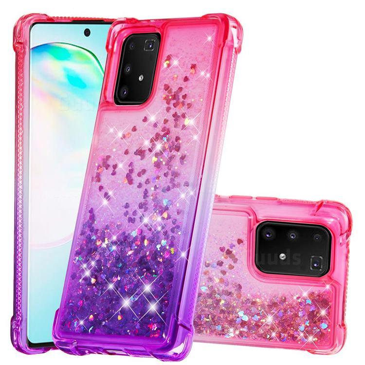 Rainbow Gradient Liquid Glitter Quicksand Sequins Phone Case for Samsung Galaxy A91 - Pink Purple