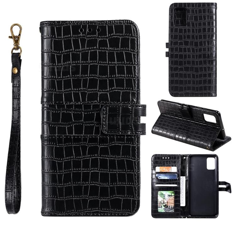 Luxury Crocodile Magnetic Leather Wallet Phone Case for Samsung Galaxy A91 - Black