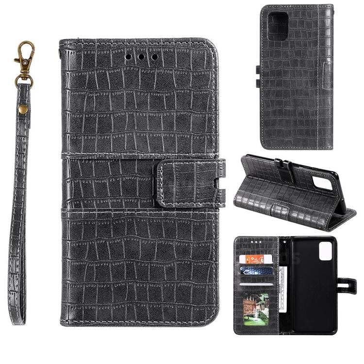 Luxury Crocodile Magnetic Leather Wallet Phone Case for Samsung Galaxy A91 - Gray