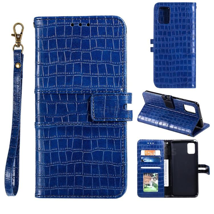 Luxury Crocodile Magnetic Leather Wallet Phone Case for Samsung Galaxy A91 - Blue