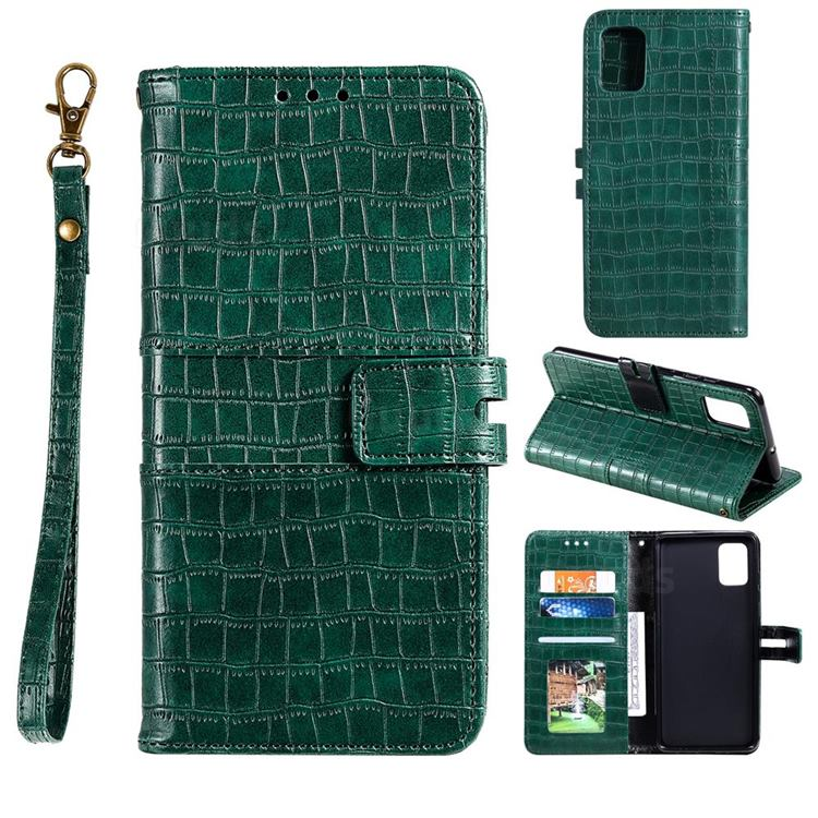 Luxury Crocodile Magnetic Leather Wallet Phone Case for Samsung Galaxy A91 - Green