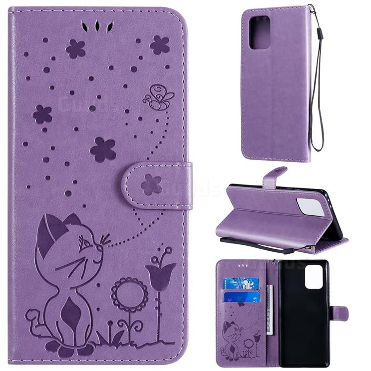 Embossing Bee and Cat Leather Wallet Case for Samsung Galaxy A91 - Purple