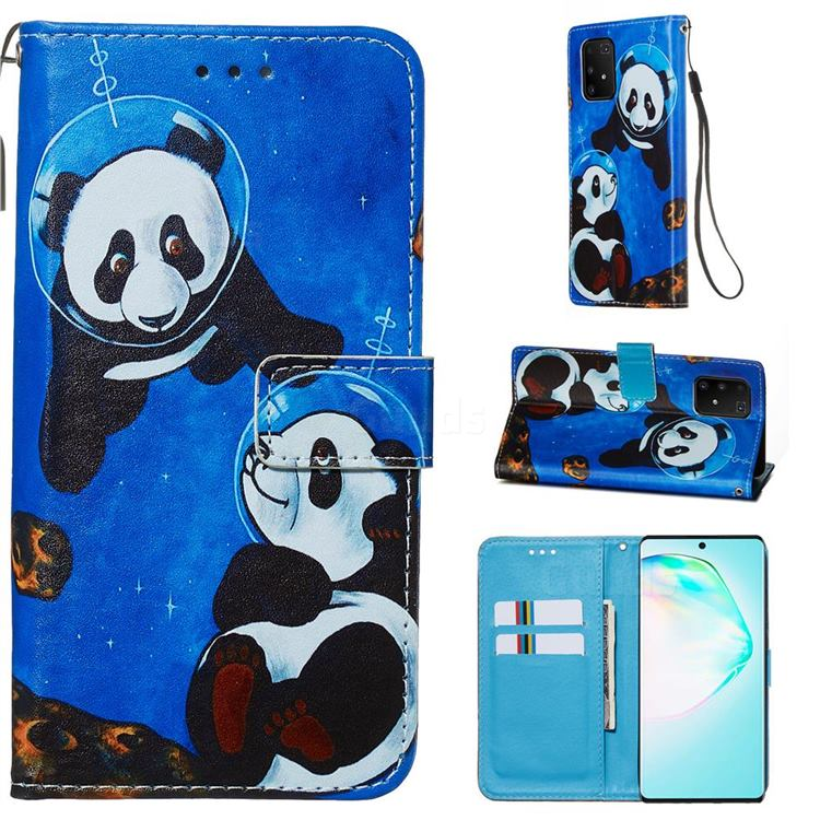 Undersea Panda Matte Leather Wallet Phone Case for Samsung Galaxy A91