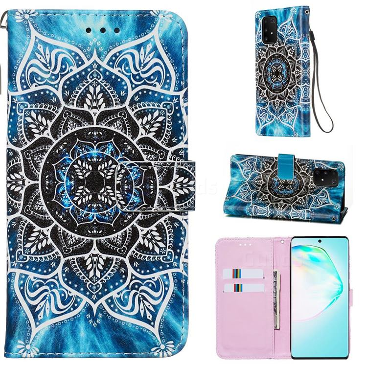 Underwater Mandala Matte Leather Wallet Phone Case for Samsung Galaxy A91