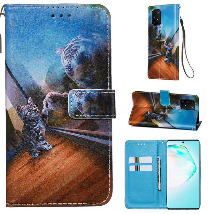 Mirror Cat Matte Leather Wallet Phone Case for Samsung Galaxy A91