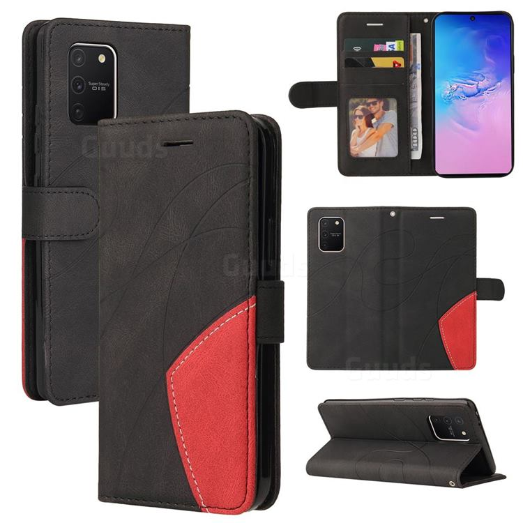 Luxury Two-color Stitching Leather Wallet Case Cover for Samsung Galaxy A91 - Black