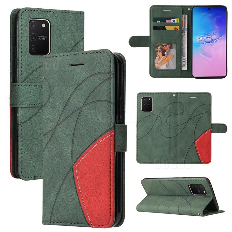 Luxury Two-color Stitching Leather Wallet Case Cover for Samsung Galaxy A91 - Green