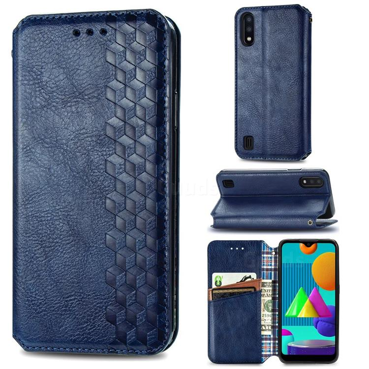 Ultra Slim Fashion Business Card Magnetic Automatic Suction Leather Flip Cover for Samsung Galaxy M01 - Dark Blue