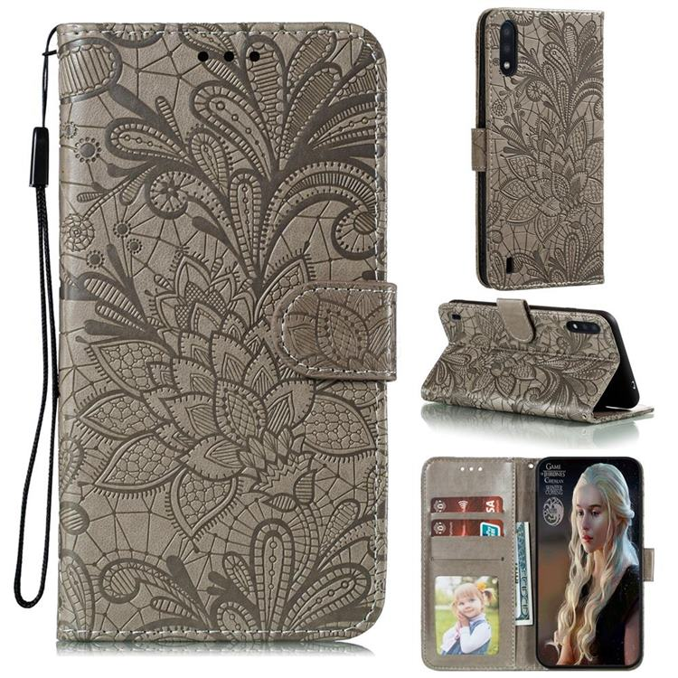 Intricate Embossing Lace Jasmine Flower Leather Wallet Case for Samsung Galaxy M01 - Gray